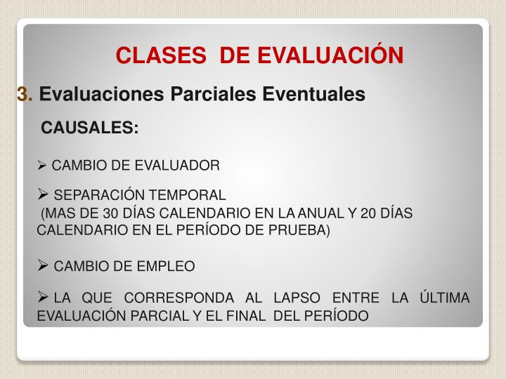 CLASES  DE EVALUACIÓN