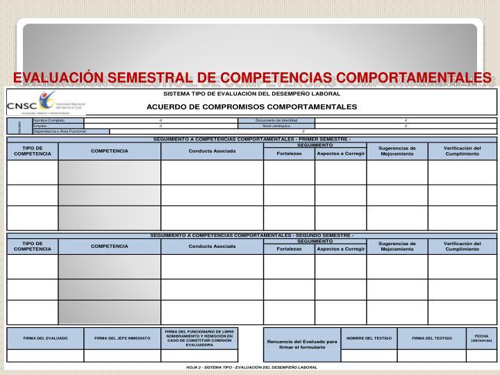 EVALUACIÓN SEMESTRAL DE COMPETENCIAS COMPORTAMENTALES