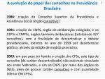 a evolu o do papel dos conselhos na previd ncia brasileira1