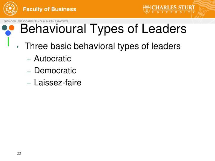 Behavioural Types of Leaders