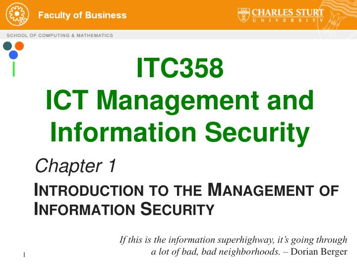 itc358 ict management and information security n.