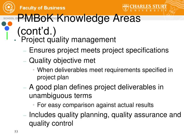 PMBoK Knowledge Areas (cont'd.)