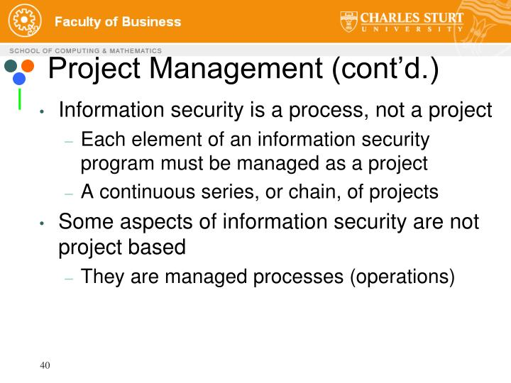 Project Management (cont'd.)