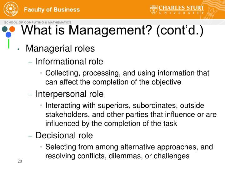 What is Management? (cont'd.)
