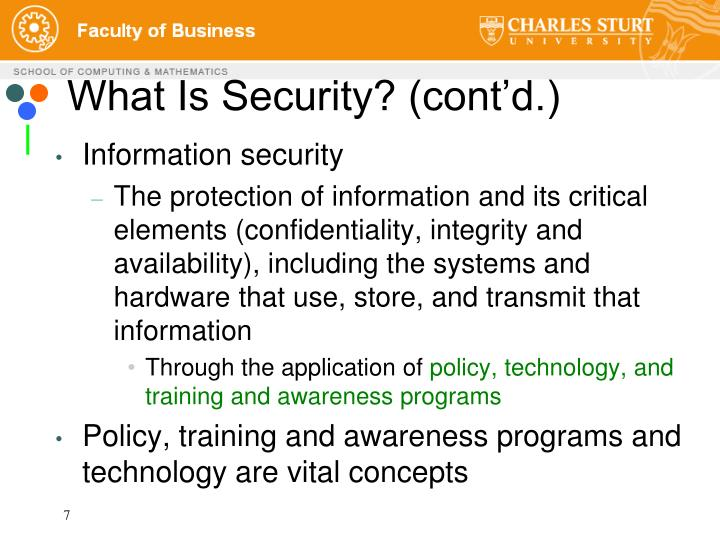 What Is Security? (cont'd.)