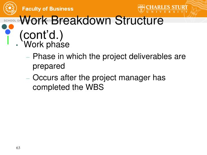 Work Breakdown Structure (cont'd.)