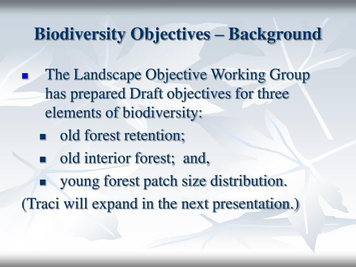 Biodiversity Objectives – Background