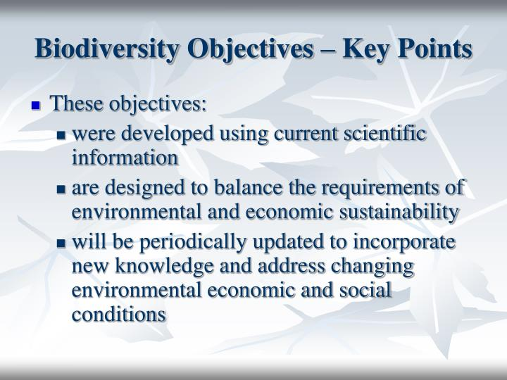 Biodiversity Objectives – Key Points