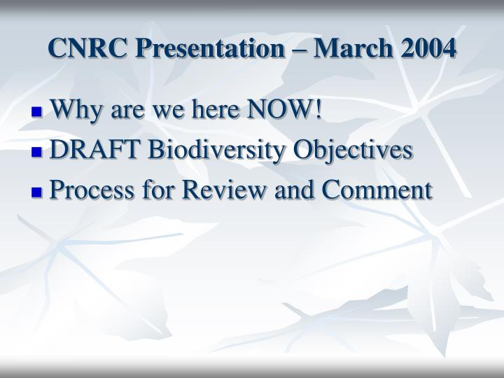 Cnrc presentation march 2004