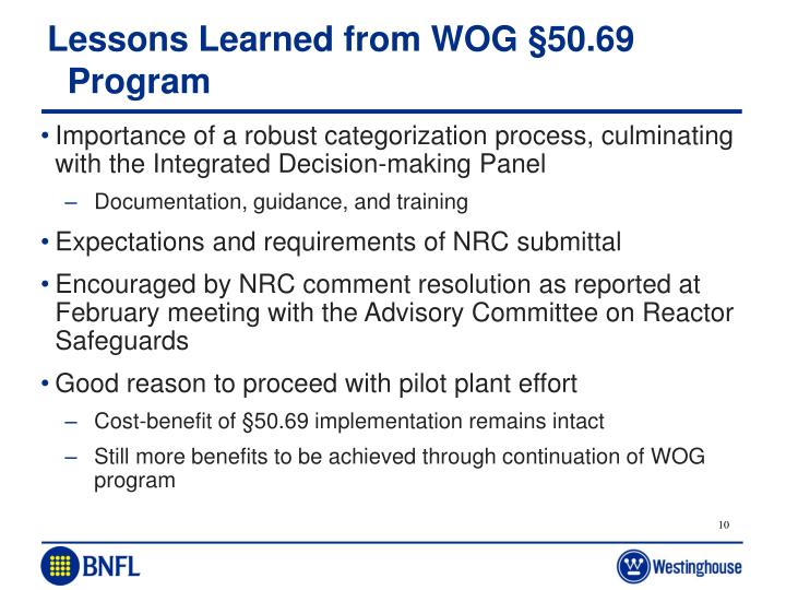 Lessons Learned from WOG §50.69 Program