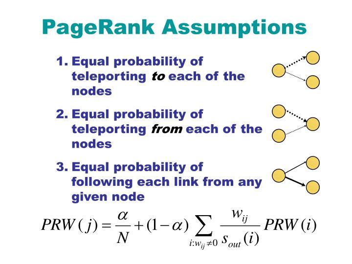 PageRank Assumptions