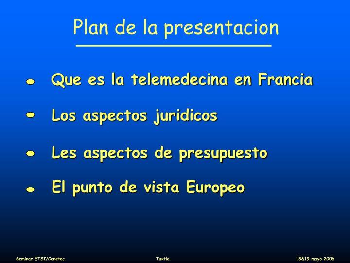 Plan de la presentacion