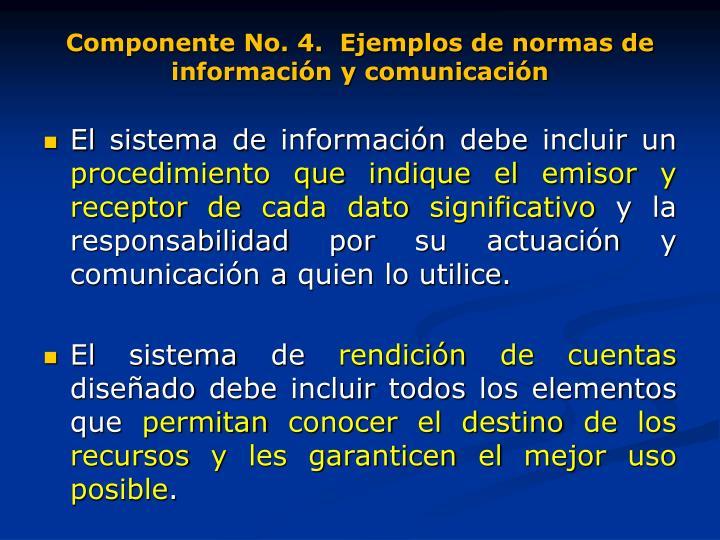 Componente No. 4.  Ejemplos de normas de información y comunicación