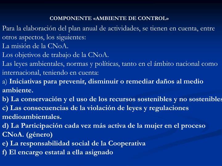 COMPONENTE «AMBIENTE DE CONTROL»