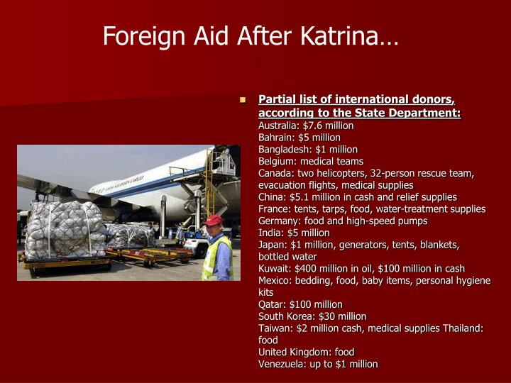 Foreign Aid After Katrina…