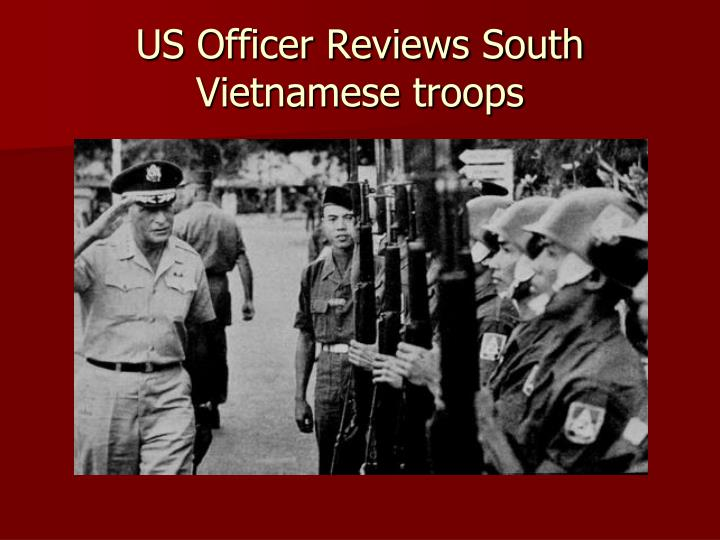 US Officer Reviews South Vietnamese troops