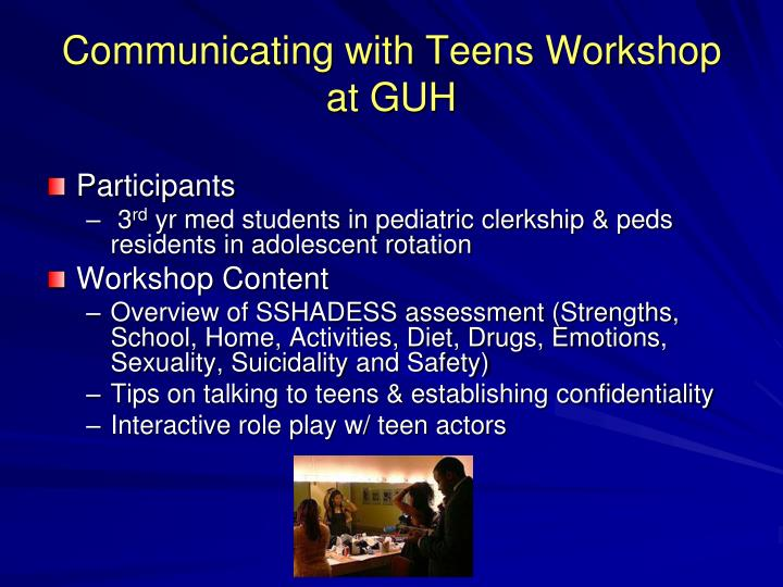 Communicating with Teens Workshop at GUH