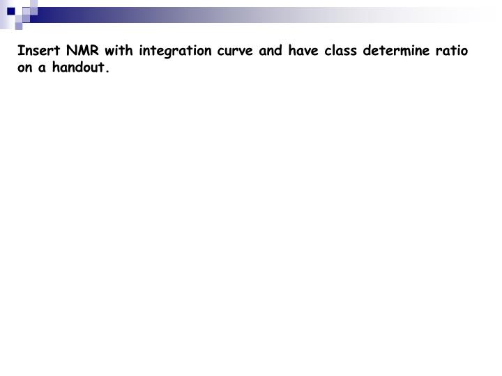 Insert NMR with integration curve and have class determine ratio on a handout.