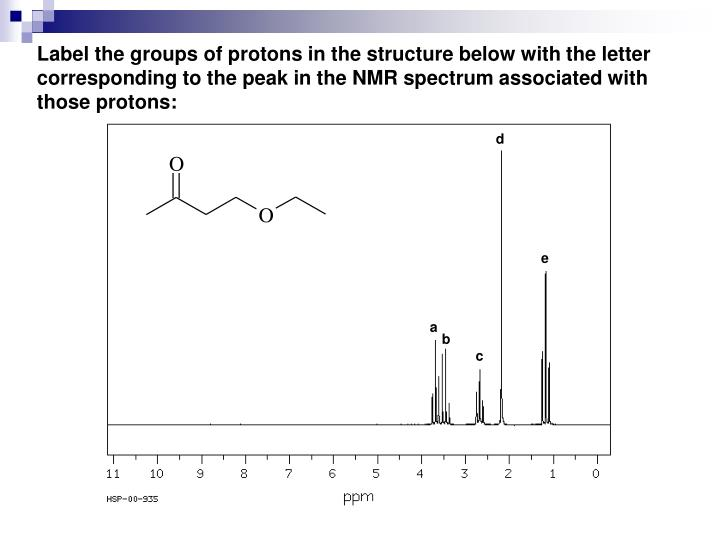 Label the groups of protons in the structure below with the letter corresponding to the peak in the NMR spectrum associated with those protons:
