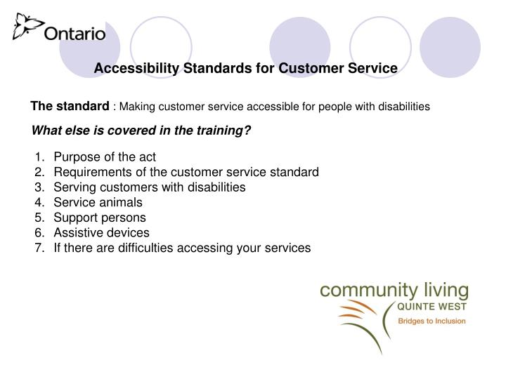 Accessibility Standards for Customer Service
