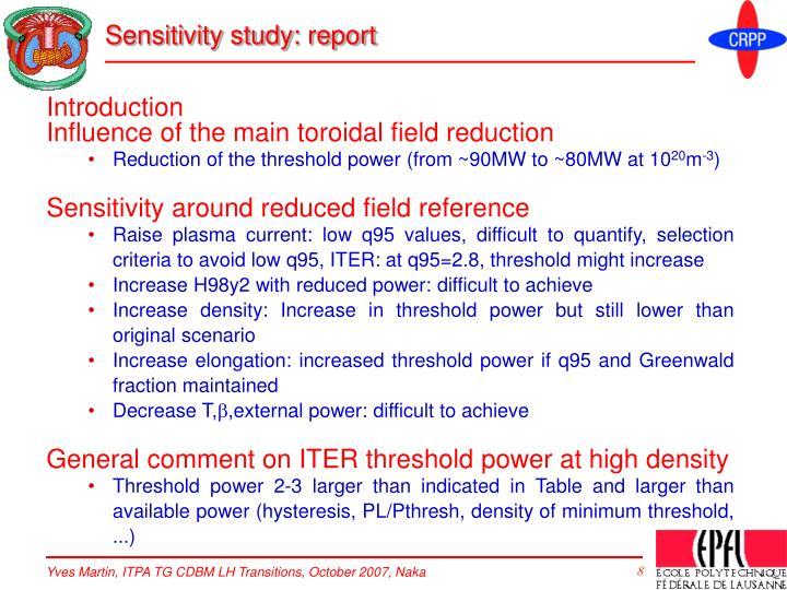 Sensitivity study: report