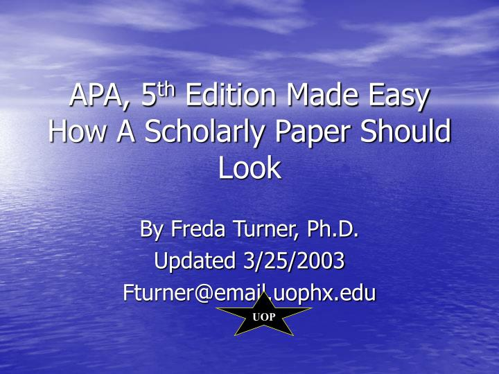 a research paper in apa fifth edition