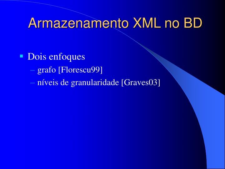 Armazenamento XML no BD