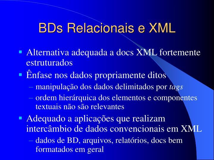 BDs Relacionais e XML