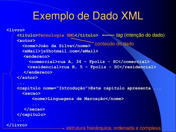 Exemplo de Dado XML