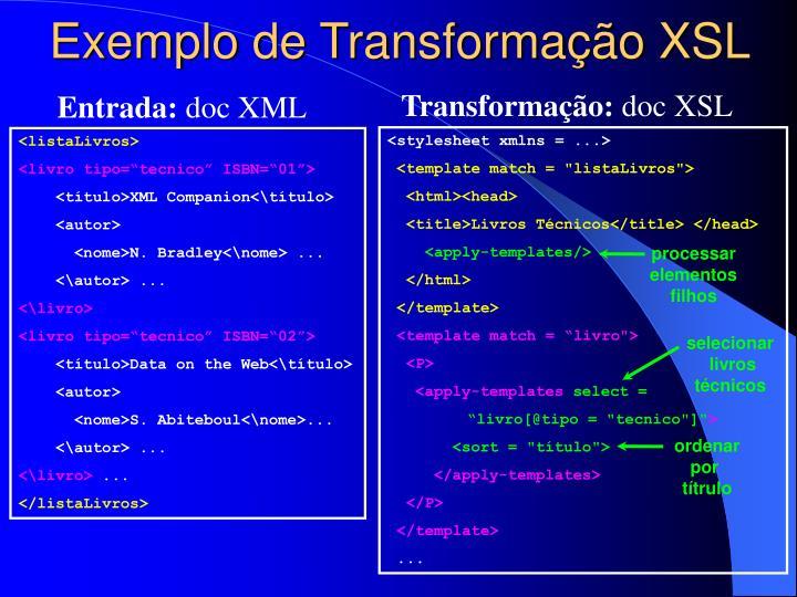 Exemplo de Transformação XSL