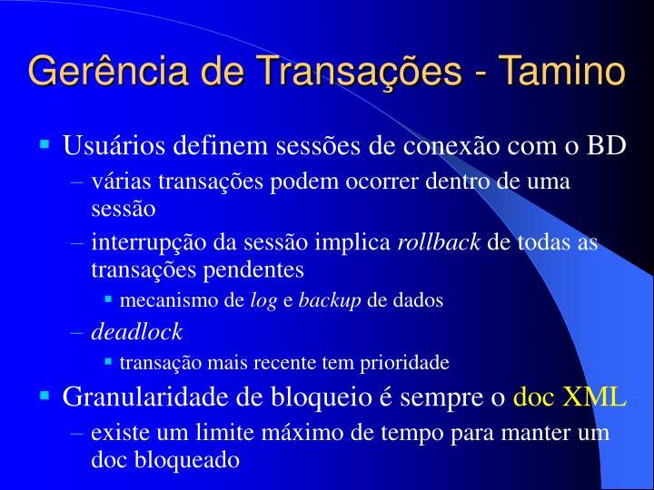 Gerência de Transações - Tamino