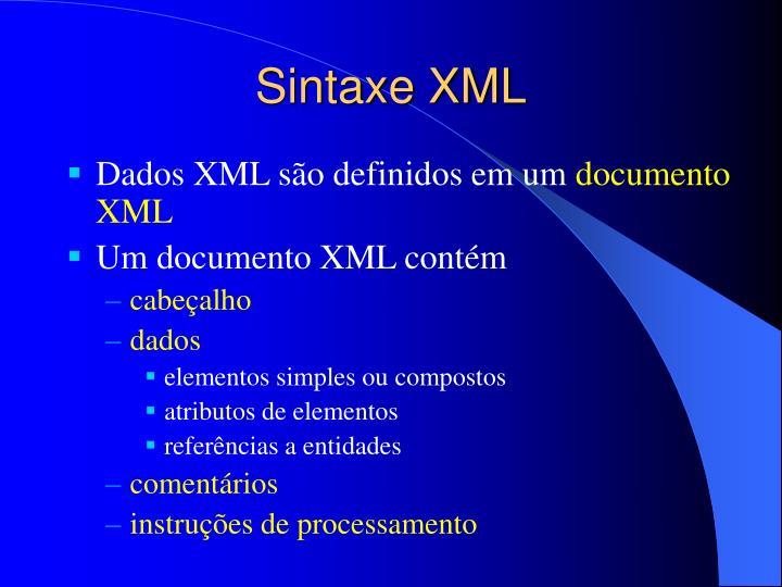 Sintaxe XML