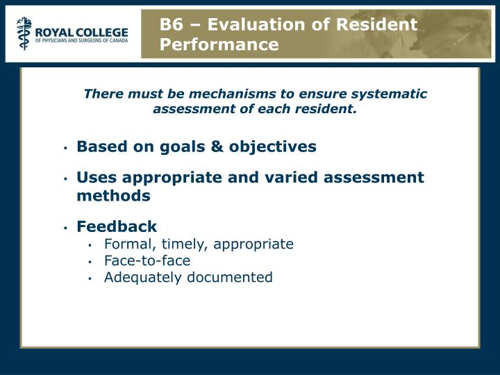 B6 – Evaluation of Resident Performance