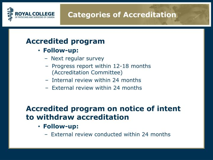 Categories of Accreditation