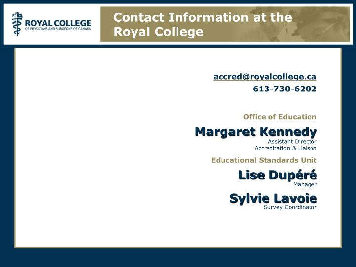Contact Information at the