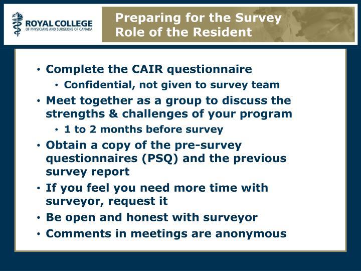 Preparing for the Survey