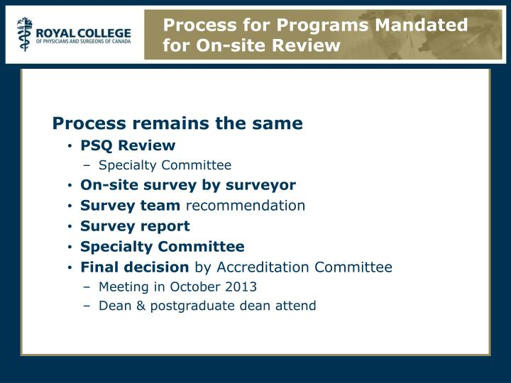 Process for Programs Mandated for On-site Review
