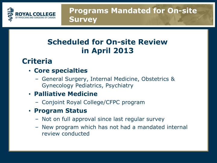 Programs Mandated for On-site Survey