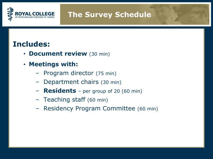 The Survey Schedule