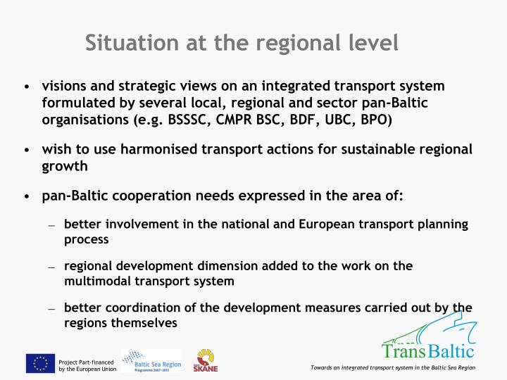 Situation at the regional level