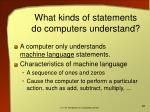 what kinds of statements do computers understand