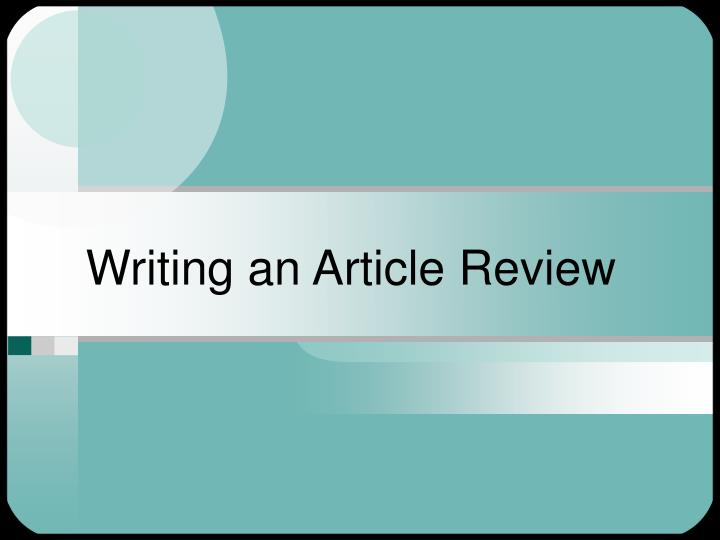 writing an article review n.