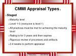 cmmi appraisal types 2