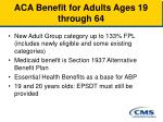 aca benefit for adults ages 19 through 64