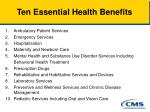 ten essential health benefits