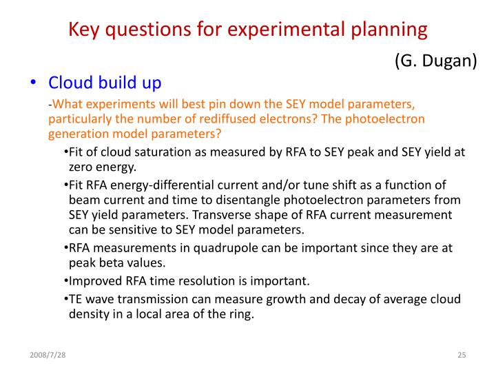 Key questions for experimental planning