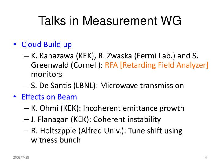 Talks in Measurement WG