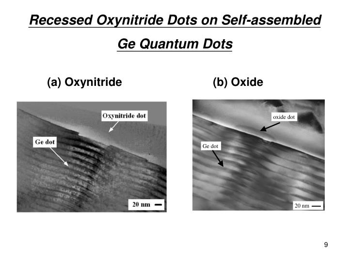 Recessed Oxynitride Dots on Self-assembled Ge Quantum Dots