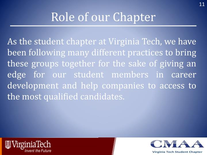 Role of our Chapter