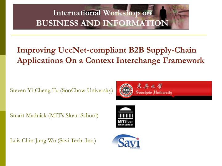 improving uccnet compliant b2b supply chain applications on a context interchange framework n.
